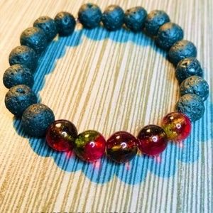 Lava and Watermelon Tourmaline Bracelet
